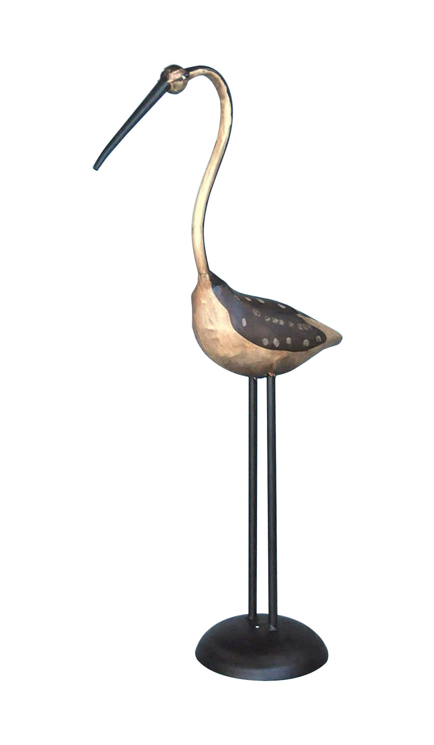 Oiseau style echassier en fer forgé Demeure et Jardin