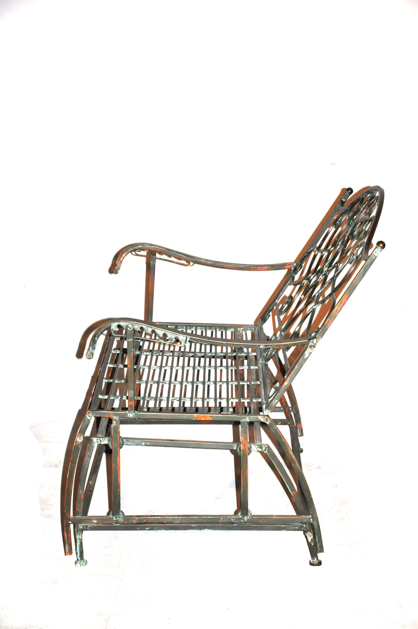 banc balancelle en fer forg vert de gris demeure et. Black Bedroom Furniture Sets. Home Design Ideas