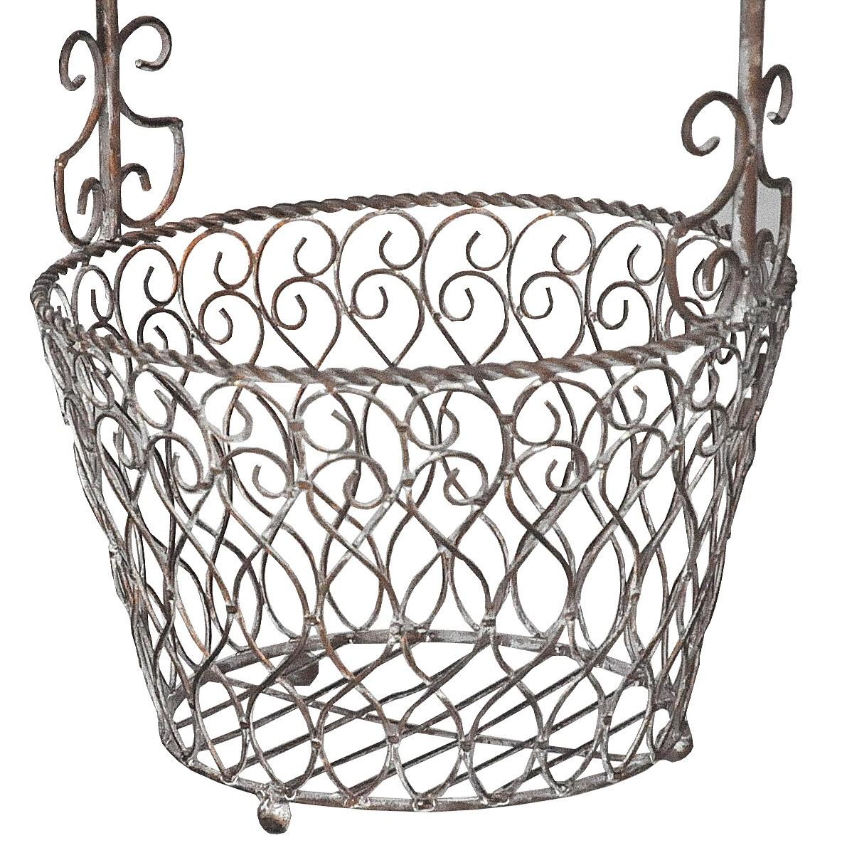 panier en fer forg taupe demeure et jardin. Black Bedroom Furniture Sets. Home Design Ideas