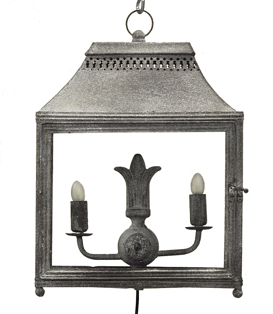 Lanterne double en fer forg gris poser demeure et jardin - Lanterne exterieur a poser ...