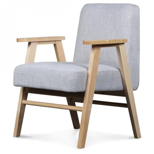 Fauteuil design scandinave tissu tweed gris perle javiik demeure et jardin - Tissu fauteuil design ...