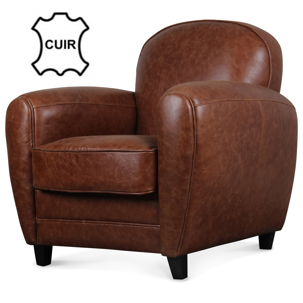 fauteuil club en cuir marron vintage industriel demeure et jardin. Black Bedroom Furniture Sets. Home Design Ideas