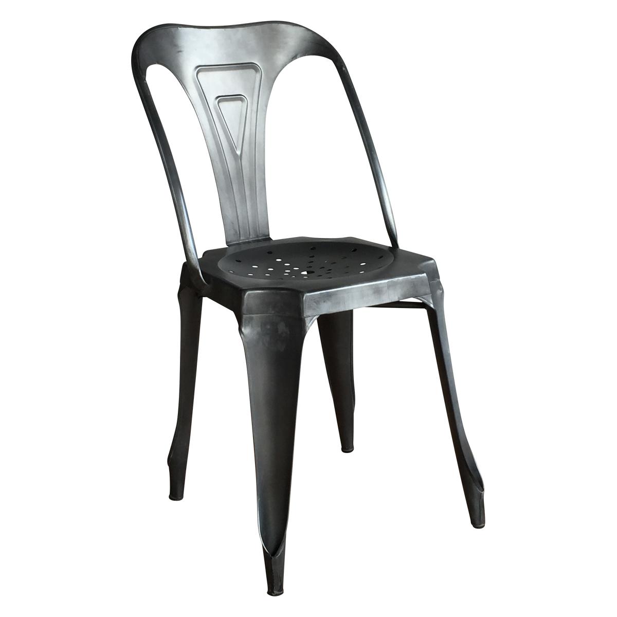 Chaise en m tal style vintage industriel noire patin e demeure et jardin - Chaise en metal industriel ...