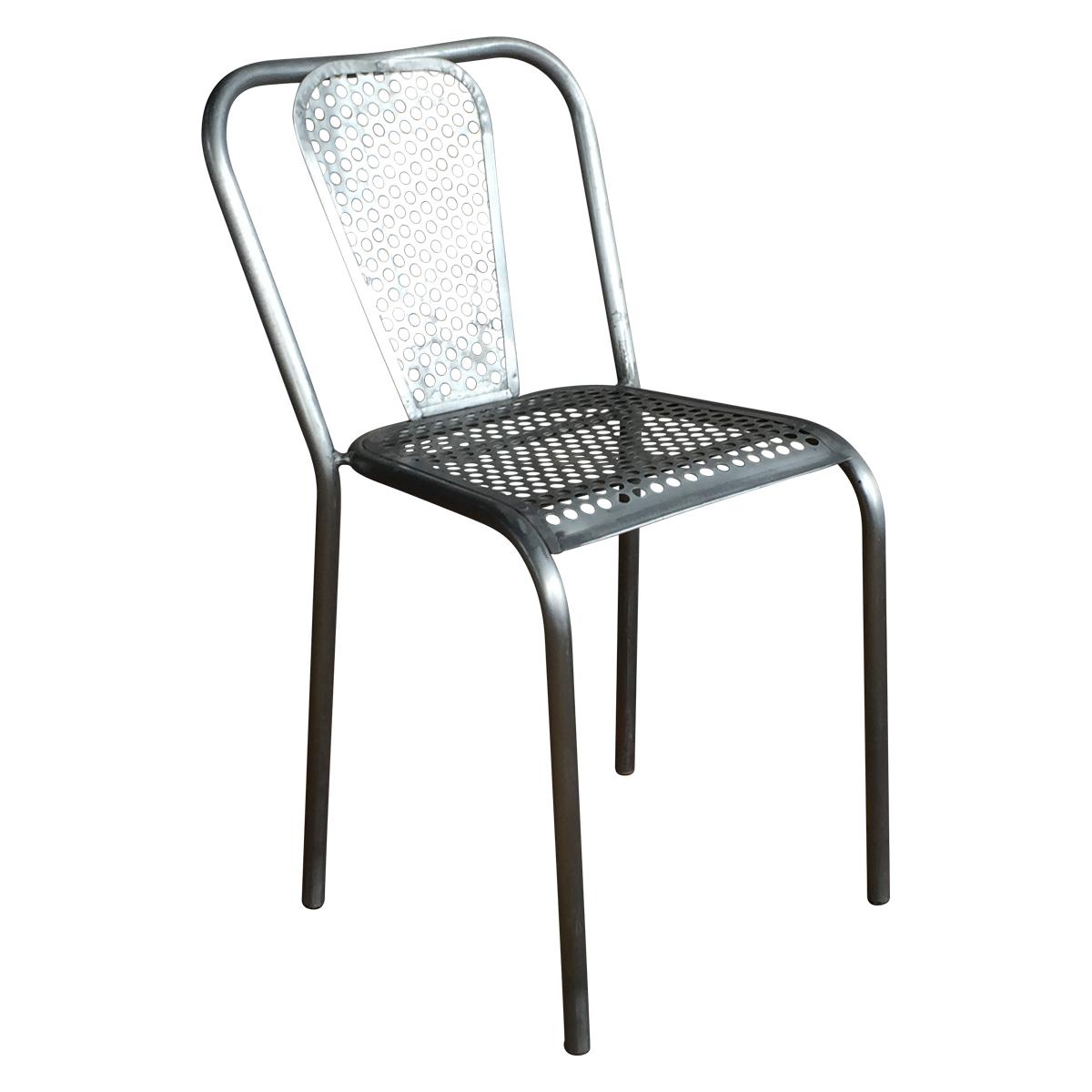 Chaise en m tal grise style industriel demeure et jardin for Chaise design industriel