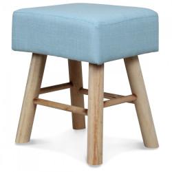 Petit Tabouret rectangulaire style Scandinave en bois bleu glacier