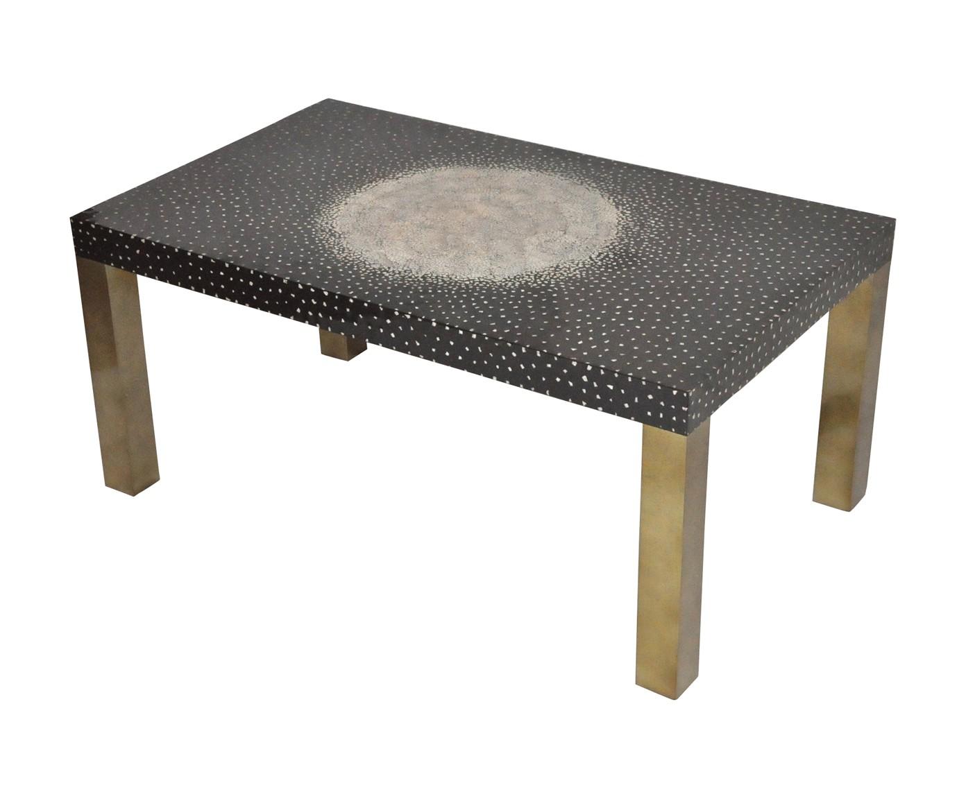 Table basse rectangulaire laque noire pieds bronze - Table basse rectangulaire ...