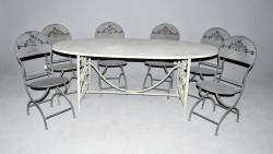 Ensemble Grande Table Ovale et 6 chaises fer forgé patinées gris zinc