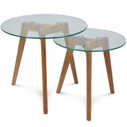 Set de 2 tables basses en verre rondes scandinave VÏNSTAD