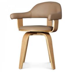 Chaise pivotante simili-cuir beige PYÖRIVÄ