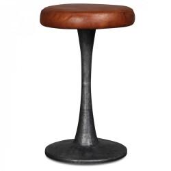 Tabouret en métal avec une assise en cuir marron