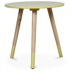 Table basse scandinave jaune GJÖKTÀ - diamètre 40 cm