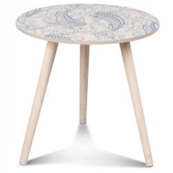 Table basse scandinave en bois bleu SINVÏK - diamètre 40 cm