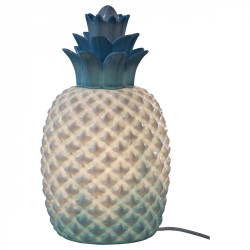 Lampe en porcelaine ananas bleu