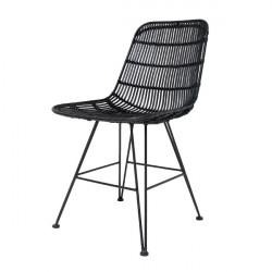 Salon de 6 chaises MALAKA metal et rotin noir