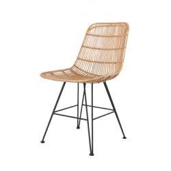 Salon MALAKA - 6 Chaises design metal et rotin