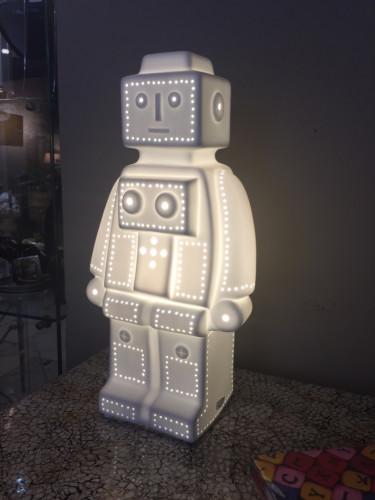 Lampe robot en céramique blanc