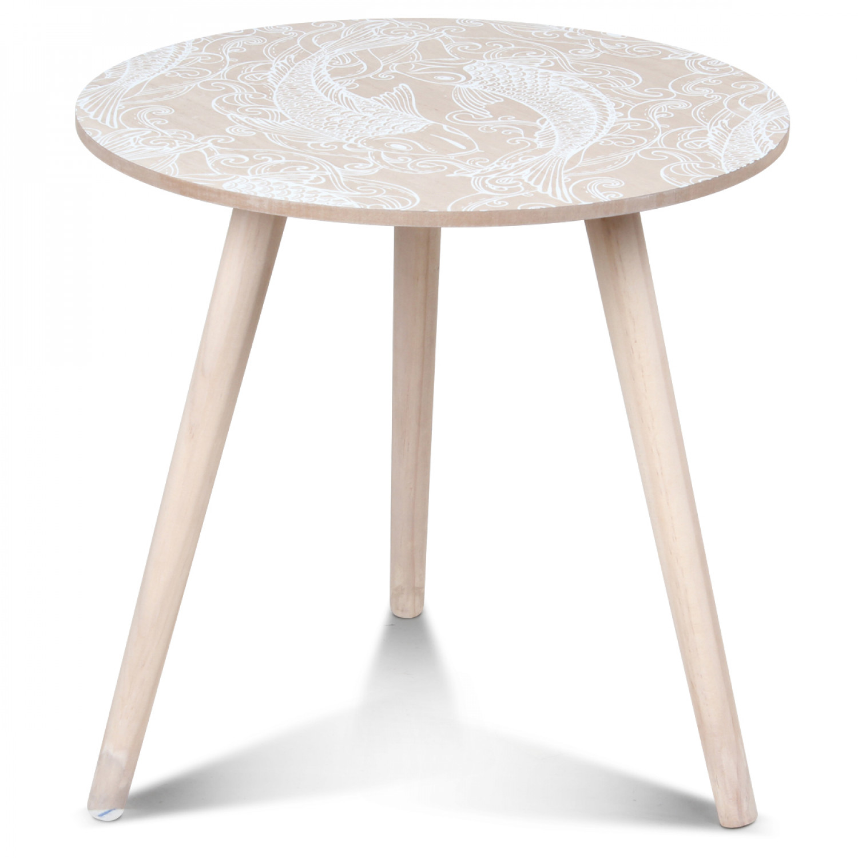 table basse scandinave en bois blanc sinv k diam tre 40 cm demeure et jardin. Black Bedroom Furniture Sets. Home Design Ideas