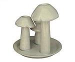 Trio de champignons Céramique Blanche (bougeoirs) Petit Modèle