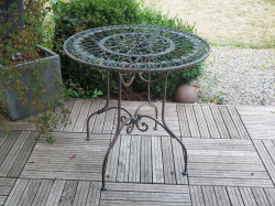 Table Ronde en fer forgé patine Vert De Gris - diamètre 80 cm