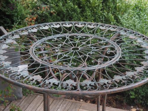 Table Ronde en fer forgé patine Vert De Gris - diamètre 80 cm