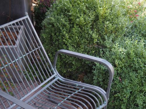 Fauteuil rétro design de jardin en fer forge patine grise zinc
