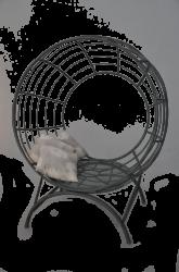 Fauteuil boule armature ronde en fer forgé