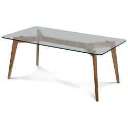 Table basse verre et bois scandinave 110x60cm