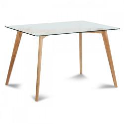 Table de repas en verre et bois 120x80cm