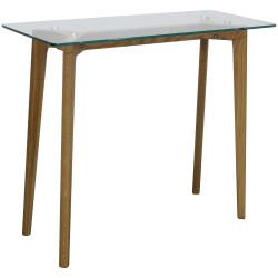 Console de bureau en verre et bois