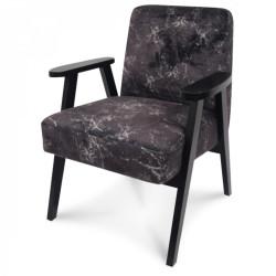 Fauteuil scandinave tissu effet marbre noir Malmo
