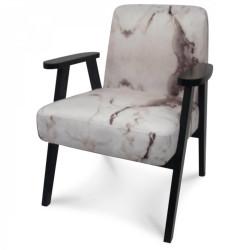 Fauteuil scandinave tissu effet marbre blanc Malmo