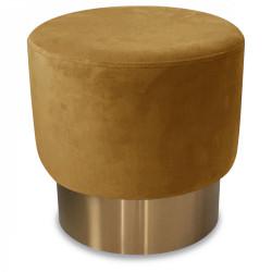 Tabouret en velours et métal couleur miel