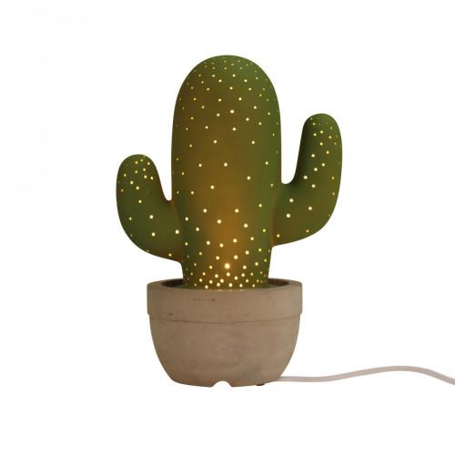 Lampe cactus et son pot en ciment