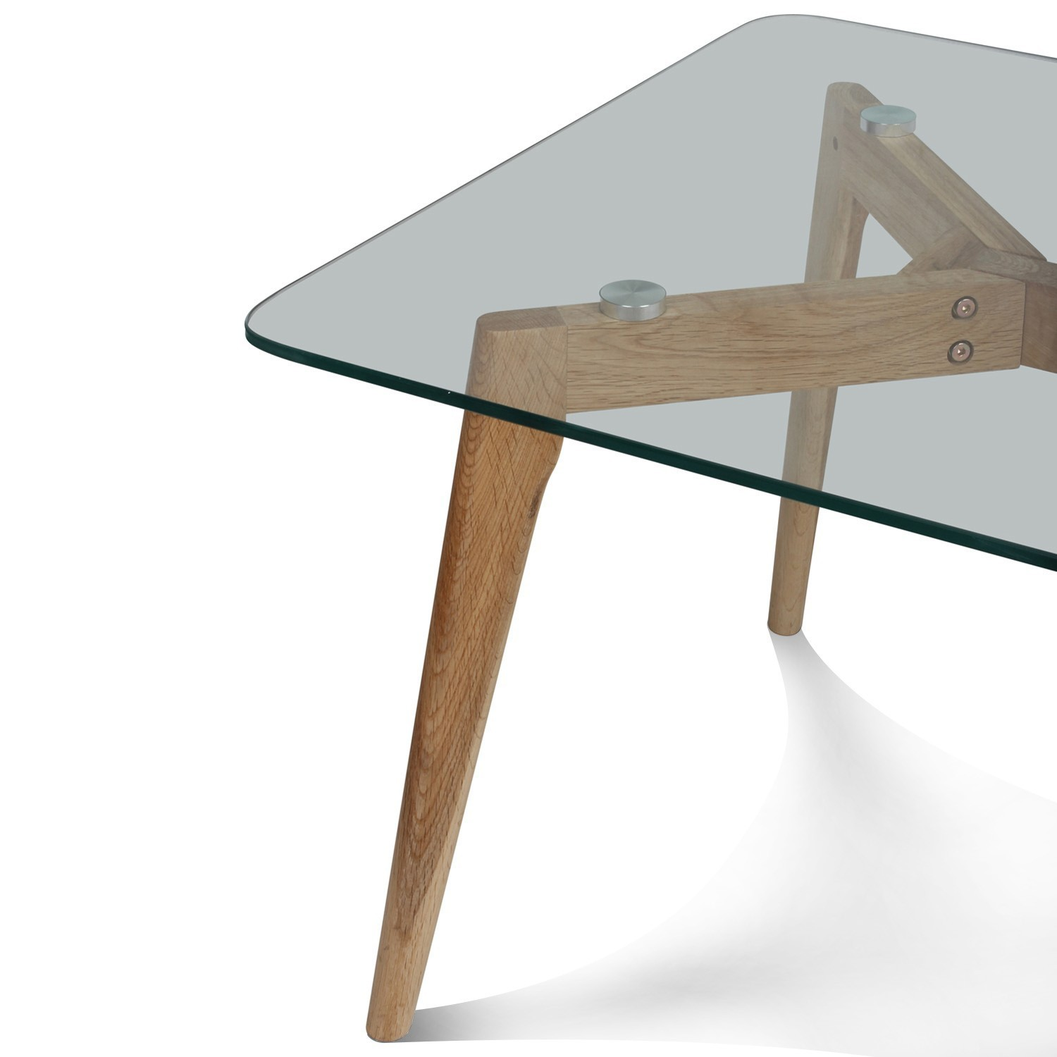 table basse verre et bois scandinave 110x60cm demeure et jardin. Black Bedroom Furniture Sets. Home Design Ideas