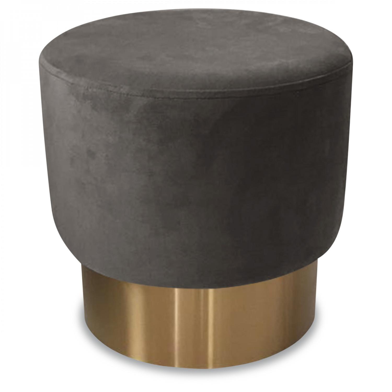 tabouret en velours et m tal couleur gris demeure et jardin. Black Bedroom Furniture Sets. Home Design Ideas