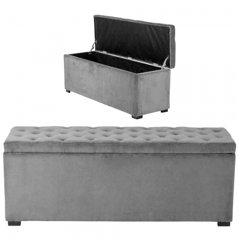 coffre capitonn velours gris demeure et jardin. Black Bedroom Furniture Sets. Home Design Ideas