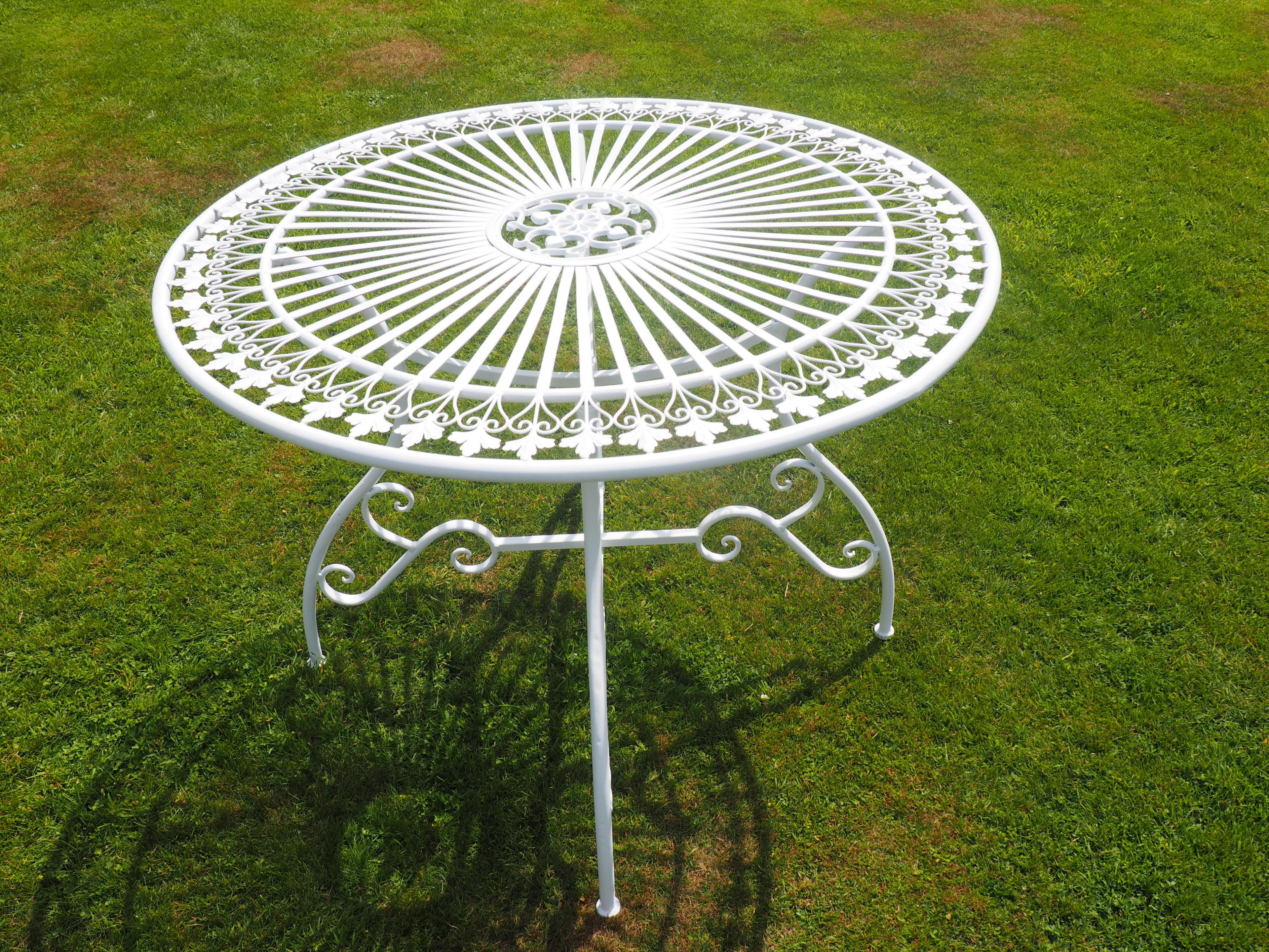 Table fer forgé patine blanche - Demeure et Jardin