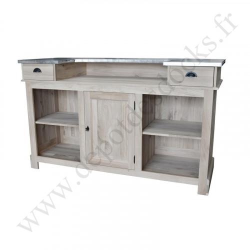 comptoir bar en ch ne massif plateau zinc 180 cm demeure. Black Bedroom Furniture Sets. Home Design Ideas
