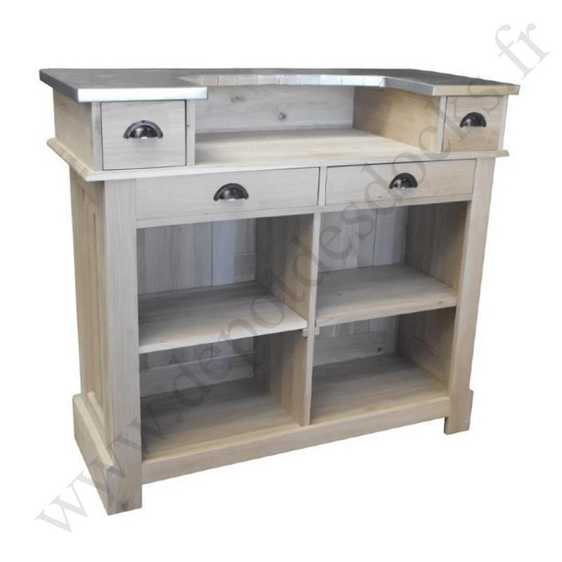 comptoir bar en ch ne massif plateau zinc 140 cm demeure et jardin. Black Bedroom Furniture Sets. Home Design Ideas