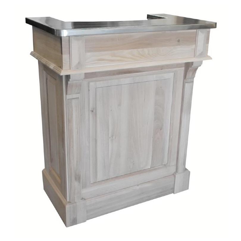 comptoir bar en ch ne massif plateau zinc 90 cm demeure et jardin. Black Bedroom Furniture Sets. Home Design Ideas