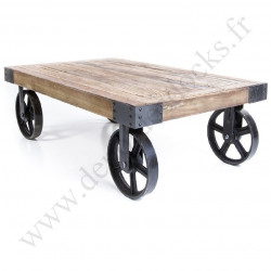 Table Basse Vintage industrielle Métal & Vieux Bois avec roues - 110x70x31 cm