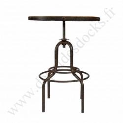 Mange debout Vintage industriel métal & vieux bois réglable Ø65 cm