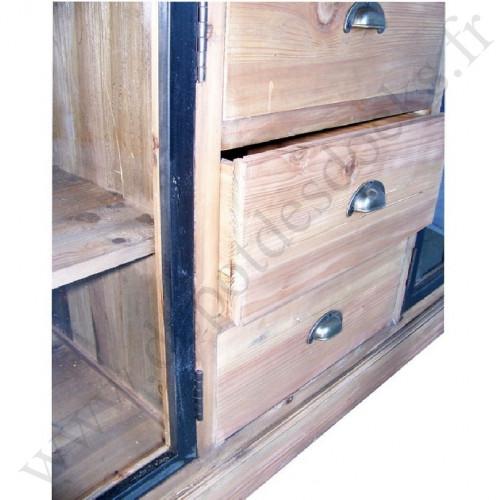 Buffet bas Vintage industriel métal & Vieux Bois - 160x50x81 cm