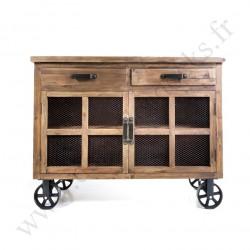 Buffet bas Vintage industriel métal & Vieux Bois avec roues