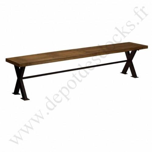 Banc vintage industriel métal & vieux bois - 250x40x45 cm