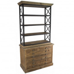 biblioth que vintage industrielle vieux bois demeure et jardin. Black Bedroom Furniture Sets. Home Design Ideas