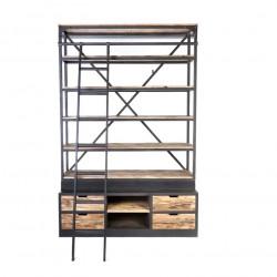 Grande Etagère Vintage industrielle métal & Vieux Bois avec échelle
