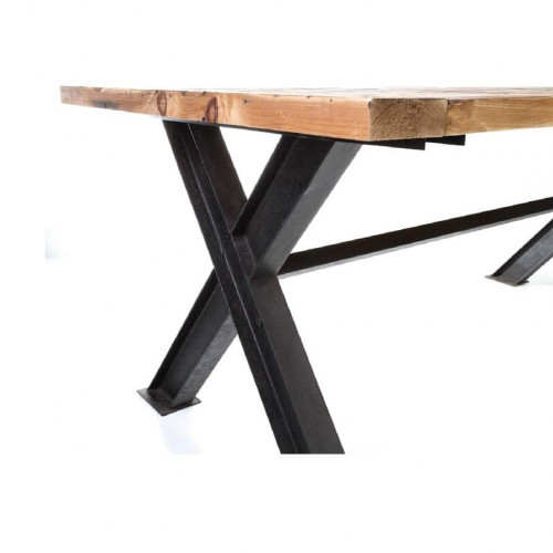 Table de repas Vintage industrielle métal & Vieux Bois - 250x100x78 cm