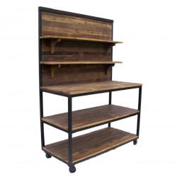 Etabli Vintage industriel métal & Vieux Bois - 130x60x180 cm