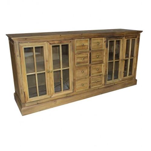Buffet bas vintage industriel Vieux Bois - 190x50x90 cm